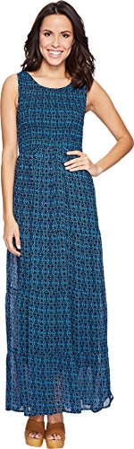 Boho-Chic Vacation & Fall Looks - Standard & Plus Size Styless - Lucky Brand Women's Smocked Dress Blue Multi Dress