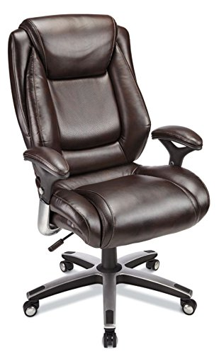 Realspace Endsleigh Executive Big Tall Bonded Leather Chair, Chrome/Espresso
