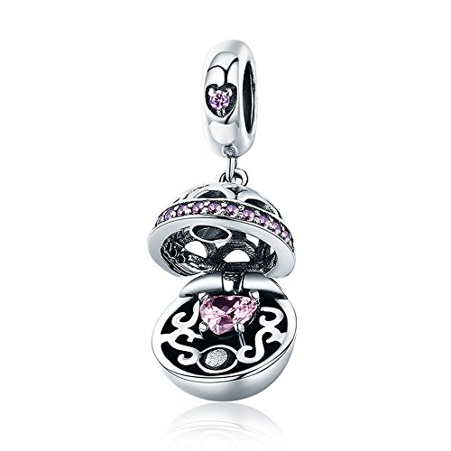 Beauty Open Heart Charm 925 Sterling Silver Pink Crystal Heart Dangle Bead Fit DIY Bracelet or Necklace ()