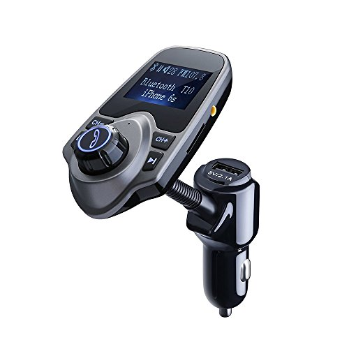 Smarzon FM Transmitter KFZ Autoladegerät Wireless Radio Transmitter mit 3,5mm Audio Plug, TF-Kartensteckplatz, Unterstützt 1,44 Inch LCD Display für Smartphones