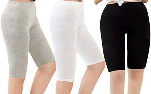 Women's Thigh High Under Dress Leggings Light Soft Yoga Bike Shorts Plus Size 3 Pairs Black w White w Light Grey US 2X Plus-US 4X Plus
