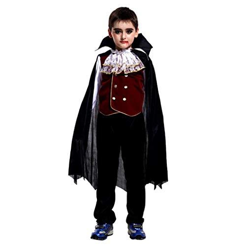 (Yezijin Halloween Kid Three-Piece, Toddler Kids Boys Girls Halloween Cosplay Costume Tops Pants Cloak Outfits Set)