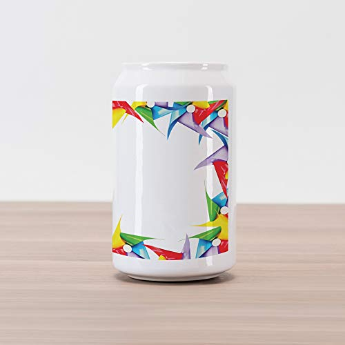 Lunarable Pinwheel Cola Can Shape Piggy Bank, Colorful Windmill Frame Square Shape Happy Border Gallery Ornate Child Kids Art, Ceramic Cola Shaped Coin Box Money Bank for Cash Saving, ()