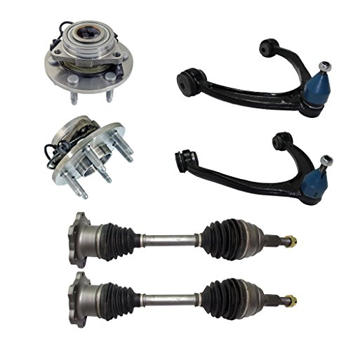 Detroit Axle - Brand New Complete 6-Piece Front Suspension Kit 10-Year Warranty- Both (2) CV Joint Axle Drive Shafts, Both (2) Front Wheel Hub & Bearing, Both (2) Front Upper - Shaft Xl Axle