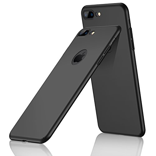 iPhone 8 Plus Case,CASEKOO Slim Fit Ultra Thin Case Hard Protective Cover [Scratch Resistant] Matte Surface Back [Great Grip Case] [Support Wireless Charging] for iPhone 8 Plus Only-Phantom Black (Case Slim Hard)