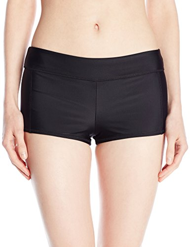 Speedo Women's Solid Boyshort Bikini Bottom, Black, Large