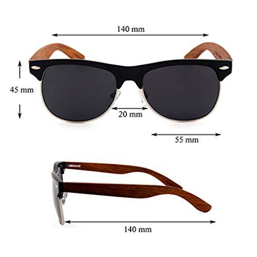 de Hechas Gafas Medio de Moda del de Gafas Madera Marco bambú a del la Gray Gafas Color Brown polarizadas Unisex Mano Brazo sol 4xpF5Taq6w