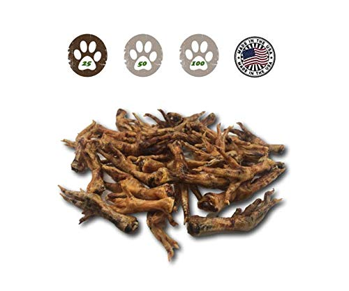 Top Dog Chews Chicken Feet Dog Treats - 25 Pack from Made in USA! ()