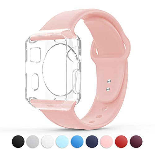 Towiph Compatible with Apple Watch Band 38mm 40mm Soft Silicone iwatch Band 40mm 38mm Series 3 4 2 1 Woman Man Sport Smartwatch Band Replacement with Free Apple Watch Case Pink