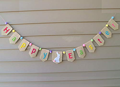 Summer Burlap Banner Decorations, Easter Garland, Easter Decor, Easter Bunting, Easter Sign, Farmhouse Banner,Photo Shoot, Photo Prop Banner Easter Bunny Banner Gift for Kids ()
