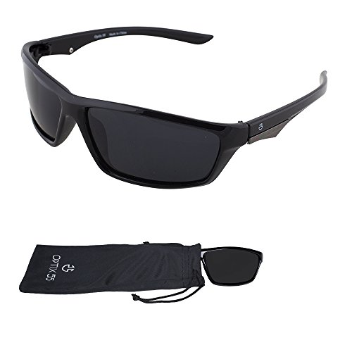 Polarized Sport Sunglasses - Durable Lightweight Unisex Frame For Running, Cycling, and All Sports - Bonus Microfiber Pouch - Shimmering Black - By Optix 55 (Cycling Sunglasses Budget)