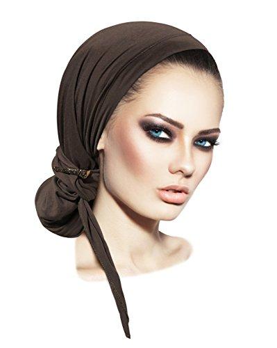 Pre-Tied Headscarf Long Turban wrap Bandana Headwear Headcover for Women Soft Cotton in Over 31 Colors! (Dark Slate Gray Rhinestone Clip)