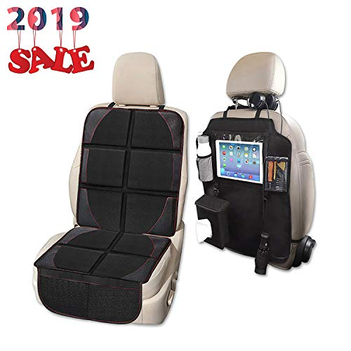 Car Seat Protector and Kick Mat Car Seat Organizer, Whew Waterproof Padding Protector for Baby Convertible Car Seat with Backseat Organizer