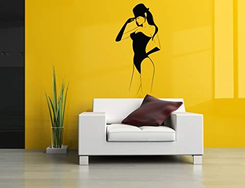 Vinyl Sticker Sexy Girl Silhouette Women Hat Gloves Dancer Stripper Mural Decal Wall Art Decor SA2174 ()