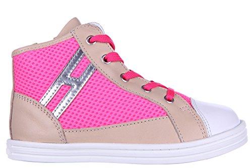 Hogan Rebel scarpe sneakers bimba bambina alte pelle nuove rebel r141 beige