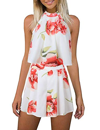 Women's Floral Printed Summer Dress Romper Boho Playsuit Jumpsuits Beach 2 Piece Outfits Top with Shorts for Lady White Size XL 10 12