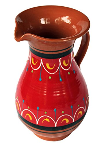 Ceramic Pottery (Terracotta Red, 2 Quart Pitcher - Hand Painted From Spain)