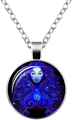 Zodiac Sign Pendant Necklace Glass Cabochon Double Galaxy Constellation Horoscope Astrology Necklace For Women Men Jewelry
