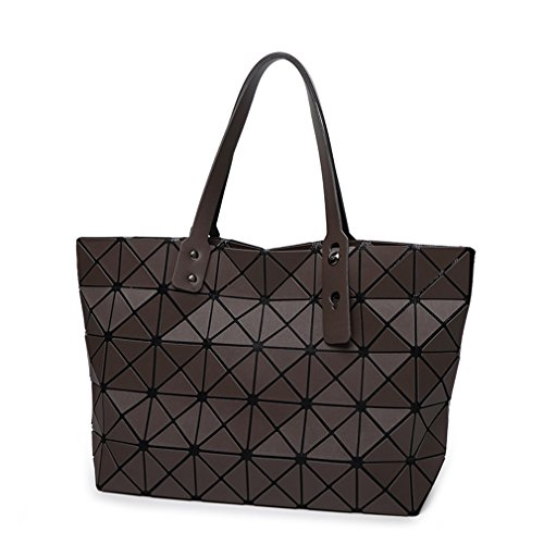 Bag Folding Matt Metal Drawing Shoulder Handbag Bag Fashion Casual Women Tote Handle Bag Geometric Shoulder Bag Brown