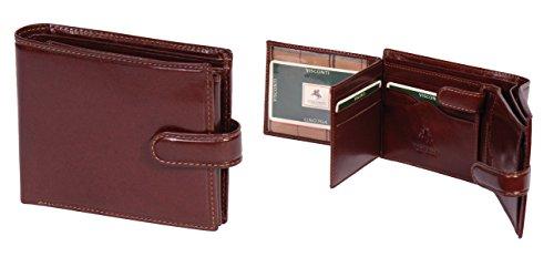 Herren Echtes Italienisches Leder Geldbörse BRAUN Luxuriöse Karten ID Notizen Münzen Sektionen Boxed - Link
