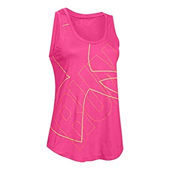 Womens Under Armour Oversized Run Graphic Tank, Rebel Pink/Yellow , X-Small
