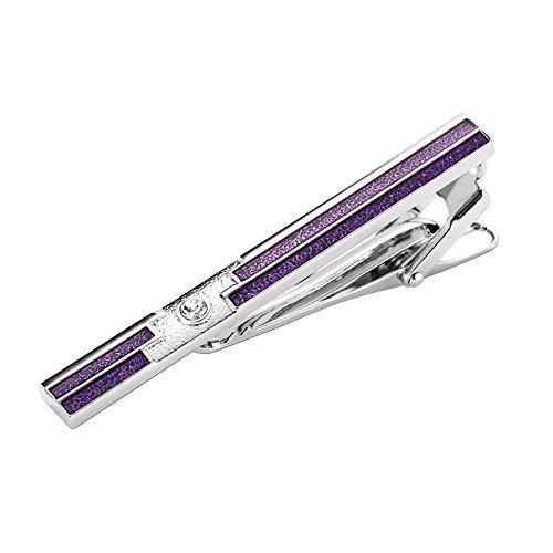 Bar Stripe Rugby - Aooaz Cufflink Men Stainless Steel Mens Tie Clip Stripes White Crystal Purple Stickpin 0.6X6CM H150