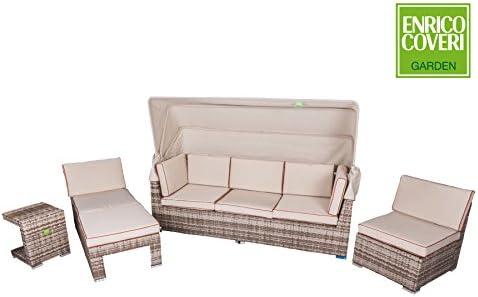 Enrico Coveri Centro Completo de jardín Modelo Patronale con sofá sillón Puf y Mesa para Exterior: Amazon.es: Jardín