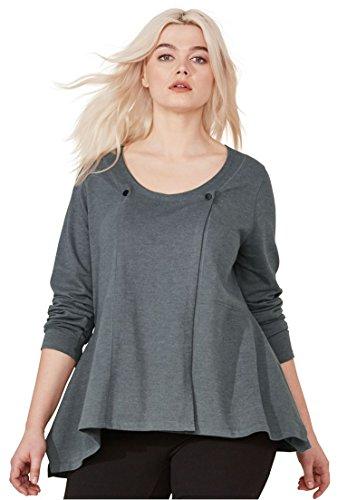 Ellos Women's Plus Size Knit A-Line Cardigan Heather Slate,22/24