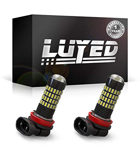 LUYED 2 X 1700 Lumens Extremely Bright 4014 102-EX Chipsets H11 H8 LED Bulbs Used For DRL or Fog Lights,Xenon White(Brightest LED in market)