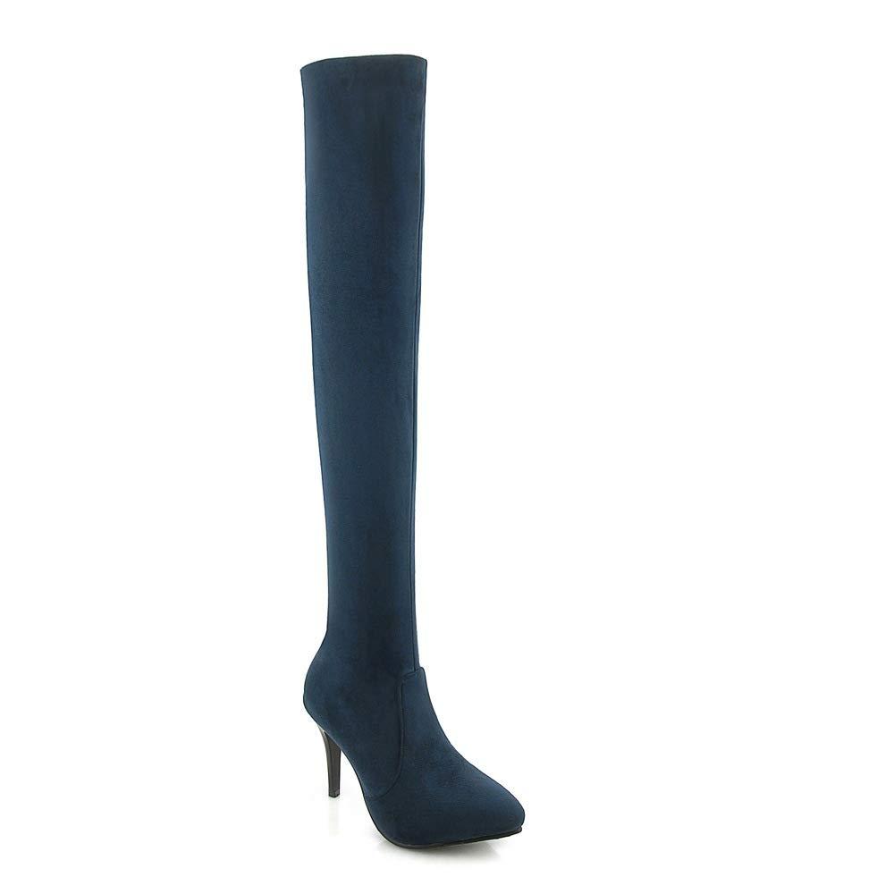 QINGMM QINGMM QINGMM Frauen Wildleder Overknee Stiefel 2018 Herbst Winter Super High Heel Stiefel Große Größe 33-43 5a24f4