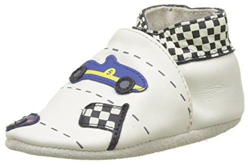 Robeez Unisex Baby Retro Racing Krabbelschuhe Weiß (BLANC CASSE)