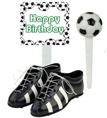 Soccer Foot Ball Birthday Party Cake Decoration Topper Toys Mini Soccers Shoes Cleats Soccer Pick and Banner (Mini Soccer Cake Topper)