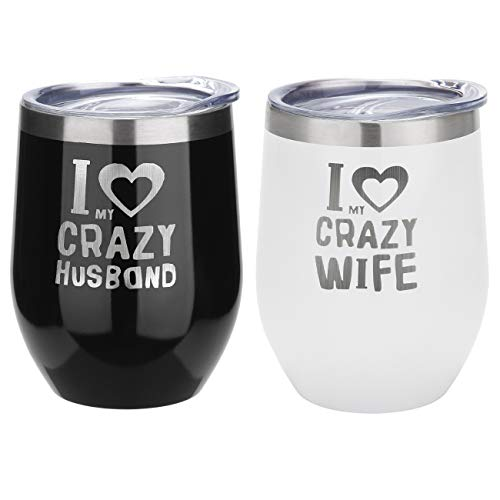 (FAYERXL Personalised Mr and Mrs Couples Steel Wine Tumbler Set Wedding Gift for Bride and Groom-His and Hers Gifts Mugs (Black and White, Set of 2 Crazy Wife and Crazy Husband))
