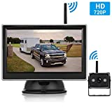 Emmako HD 720P Digital Wireless Backup Camera With 5'' Monitor System For Trailer,Truck,RV,Motorhome,High-Speed Observation Camera Adjustable Rear/Front View, Guide Lines ON/Off,IP69K Waterproof