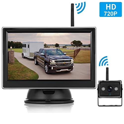 - Emmako HD 720P Digital Wireless Backup Camera With 5'' Monitor System For Trailer,Truck,RV,Motorhome,High-Speed Observation Camera Adjustable Rear/Front View, Guide Lines ON/Off,IP69K Waterproof