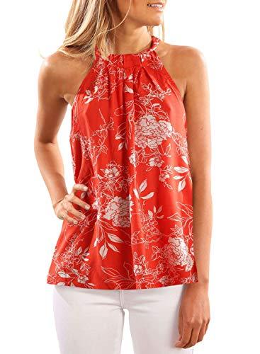 c5adea72bcb HOTAPEI Women High Neck Chiffon Floral Tank Tops Blouses Casual Sleeveless  Shirt