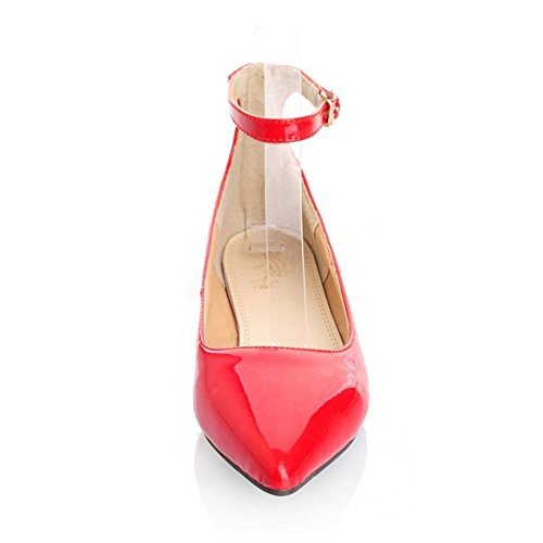 TAOFFEN Women's Ankle Strap Court Shoes Red X9y5c