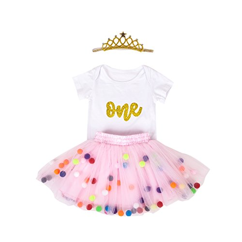 Baby Girls 1st Birthday Outfit Glitter One Romper Balls Skirt Crown Headband (Gold Pink01, 9-12Months) (Glitter Onesie)