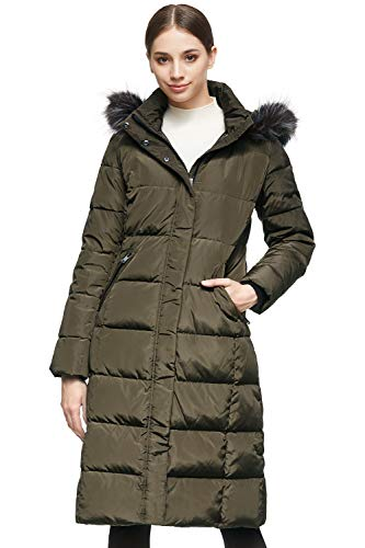 Orolay Women's Quilted Down Jacket Winter Long Coat Hooded Stand Collar Parka