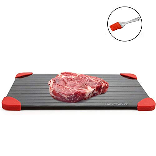 Pine Kitchen Co Defrosting Tray - LARGEST SIZE magic defrosting tray for frozen foods and Quick Meat thawing plate. UPGRADED VERSION : Defrost-melting tray, no electricity rapid thaw defrosting tray