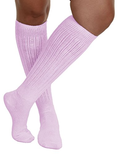 Pink All Cotton Extra Heavy Super Slouch Socks
