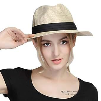 "iHomey Women Panama Straw Sun Hat Foldable Wide Brim Fedora Beach Sun Caps - Beige - M 22""-22.8"""