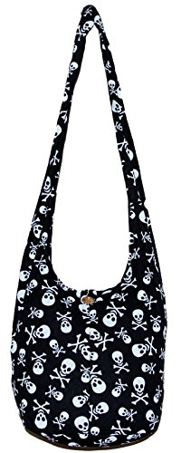 Skull Bohemian Boho Hobo Hippie Gothic Crossbody Bag Purse 33'' Black (Black) by All Best Thing