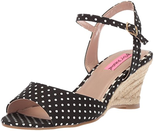 Betsey Johnson Women's Athena Espadrille Wedge Sandal, Black/White Polka Dot, 7.5 M (Black Polka Dot Sandals)
