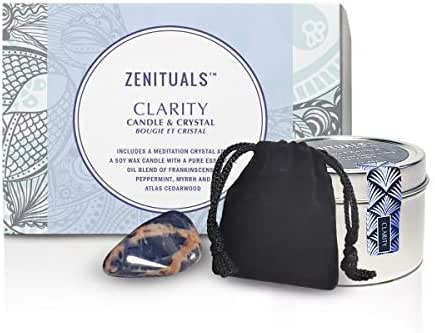 Zenituals Clarity Candle & Crystal Pack - Includes a Sodalite Meditation Crystal and Soy Wax Scented Aromatherapy Candle with Frankincense, Peppermint, Myrrh and Atlas Cedarwood Essential Oils