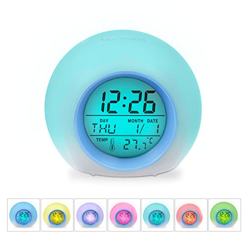 - HAMSWAN Children Alarm Clock-Digital LED 7 Color Switch and 8 Ringtones for Bedrooms – Clear Backlit Screen and Touch Control-with Snooze Function for Heavy Sleepers