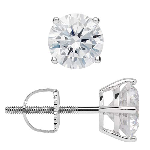14K Solid White Gold Stud Earrings | Round Cut Cubic Zirconia | Screw Back Posts | 2.0 CTW | With Gift Box ()