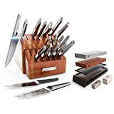 The Crusader Series 18-Piece Knife Block Set Bundled with The Dalstrong Premium Whetstone Kit - #6000/#1000 Grit, with Stand