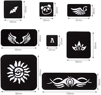Kesote 15 Hojas de Plantilla de Tatuaje Temporal Reutilizable para ...
