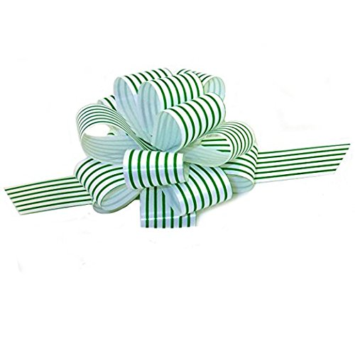 Green White Stripe Christmas Gift Wrap Pull Bows - 5
